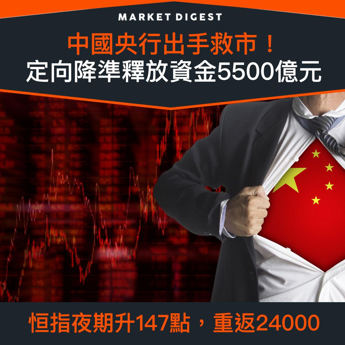 【市場熱話】中國央行出手救市!定向降準釋放資金5500億元