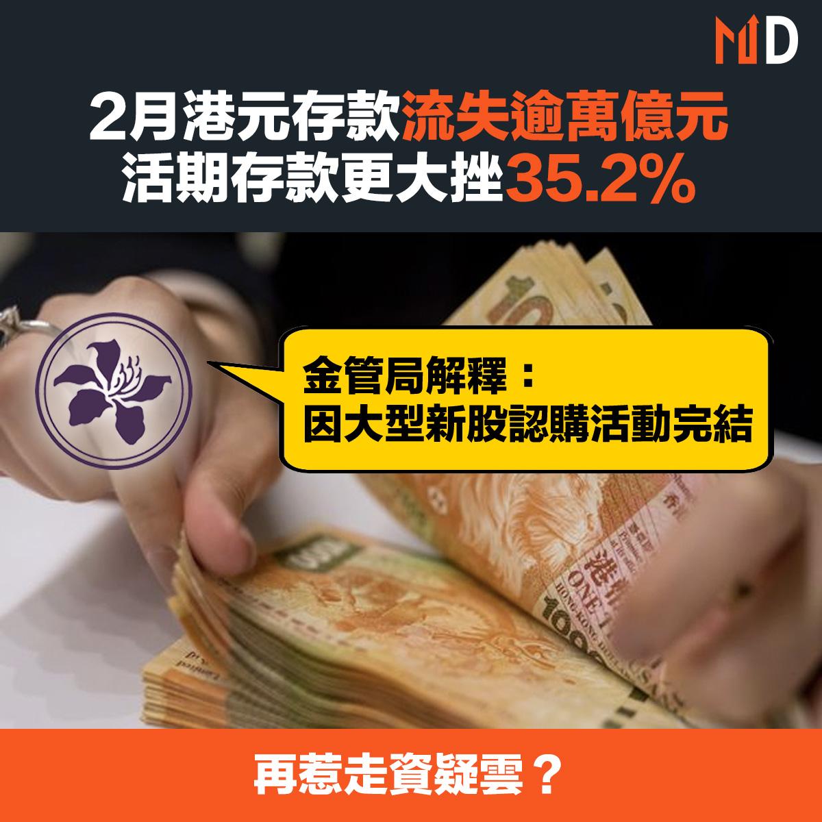 【市場熱話】2月港元存款流失逾萬億元按月大跌12%,活期存款更大挫35.2%,再惹走資疑雲?