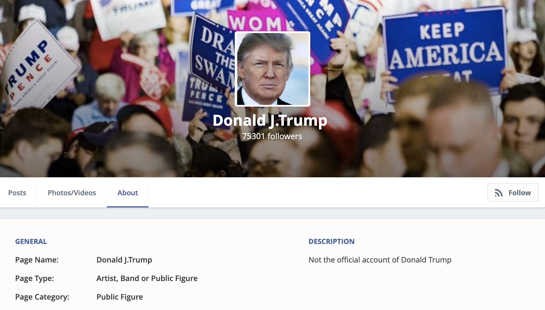 Donald Trump於MeWe的專頁