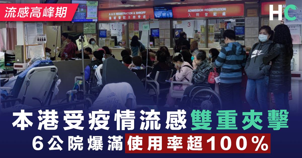 本港受疫情流感雙重夾擊 6公院爆滿使用率超100%