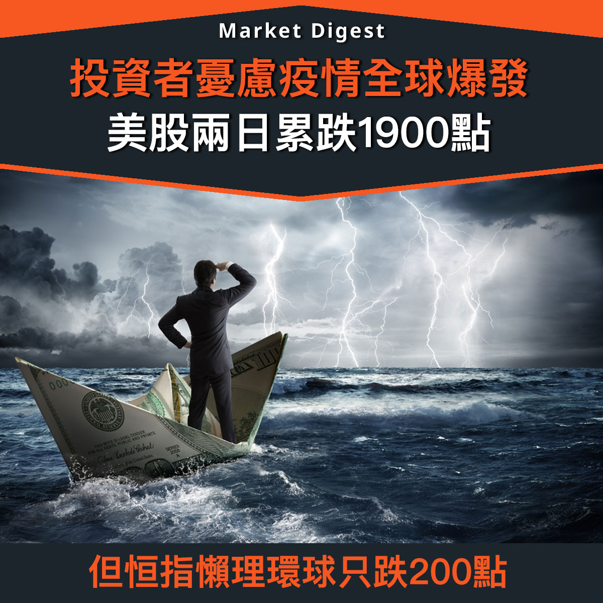 【市場熱話】投資者憂慮疫情全球爆發,美股兩日累跌1900點
