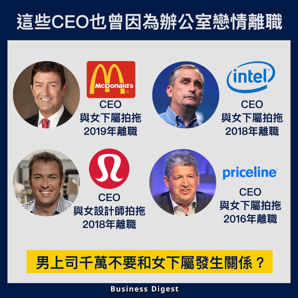 【商業熱話】這些CEO也曾因為辦公室戀情離職