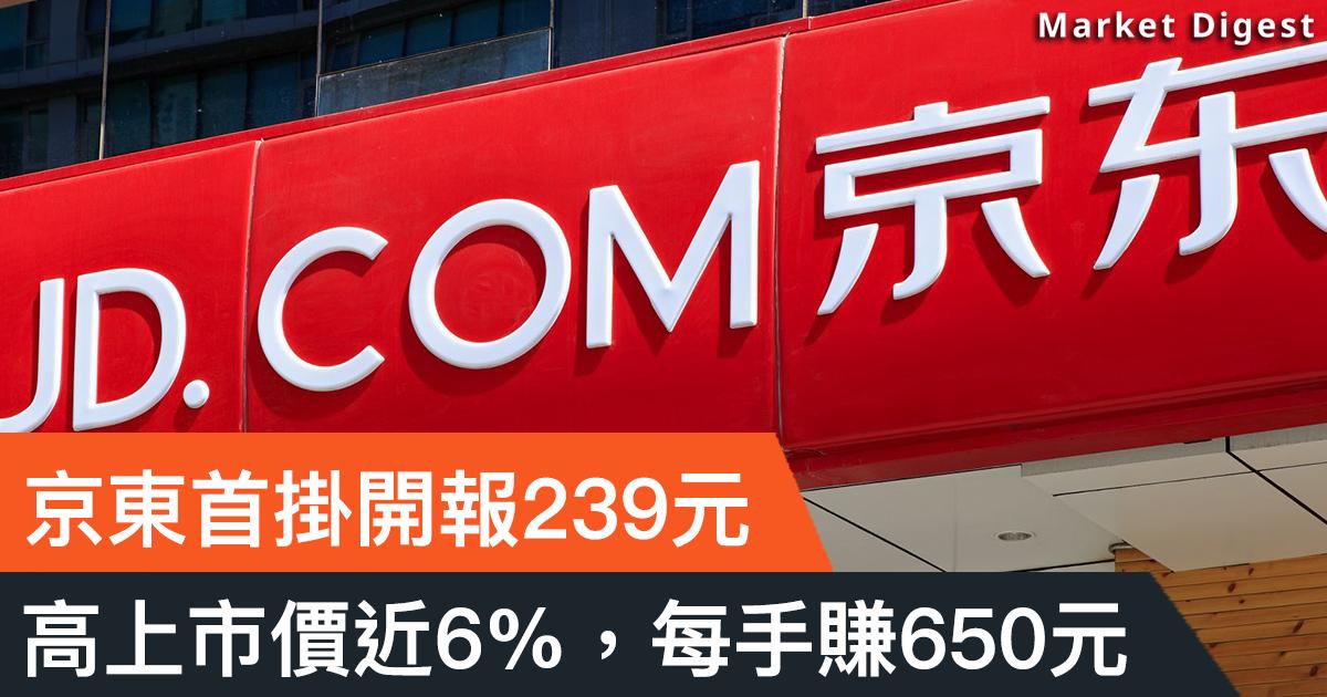 【重點新股】京東首掛開報239元,每手賺650元