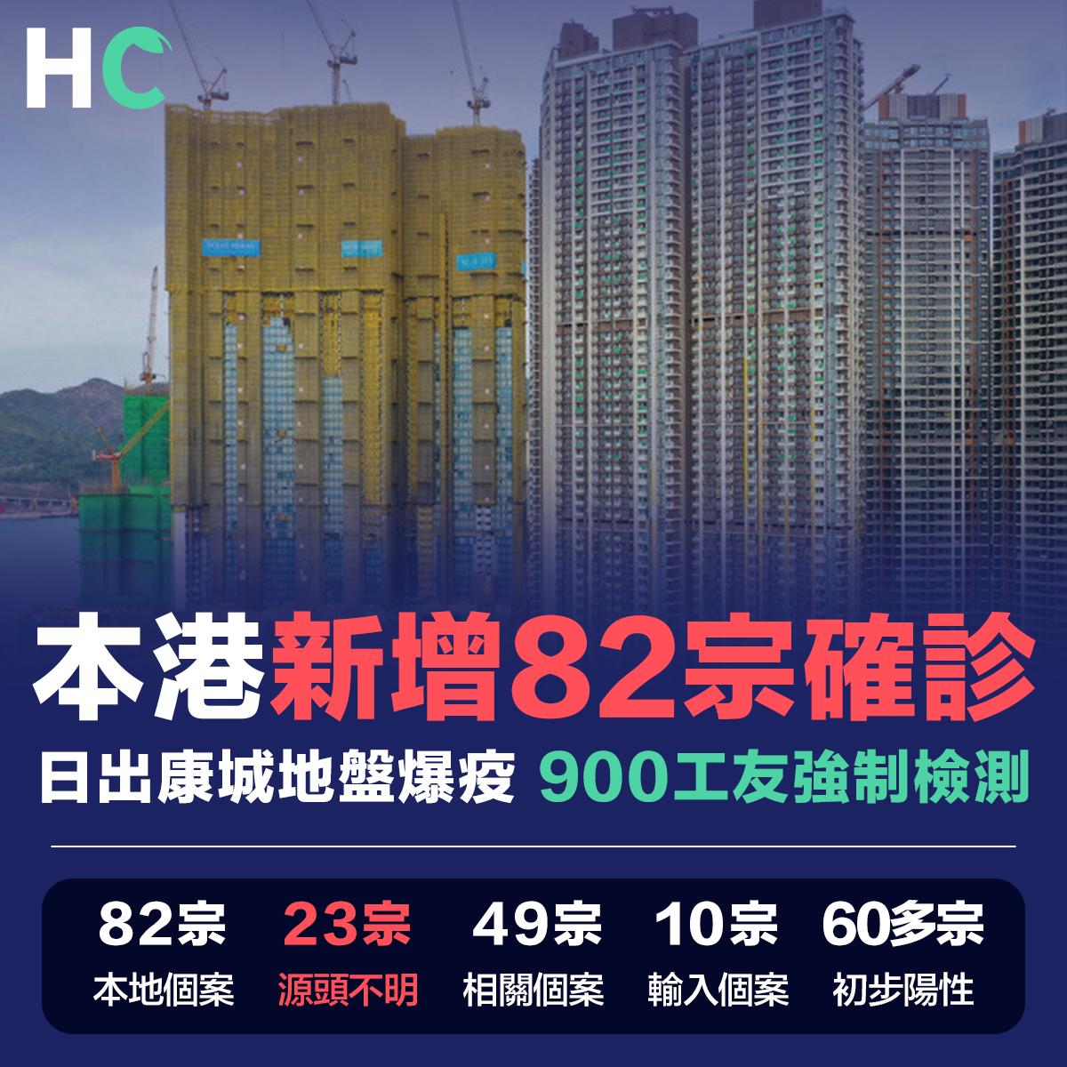 本港新增82宗確診 日出康城地盤爆疫 900工友強制檢測