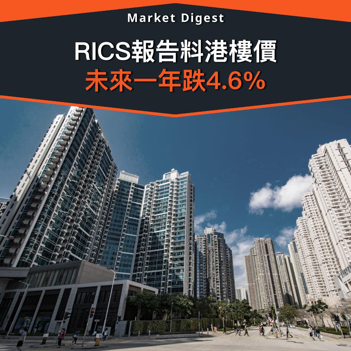 【樓市熱話】RICS報告料港樓價 未來一年跌4.6%