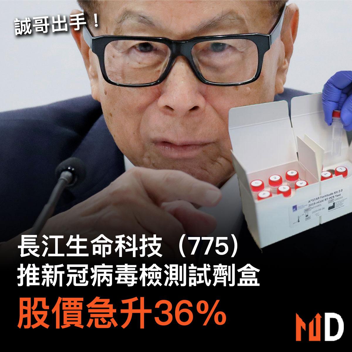 【市場熱話】長江生命科技推新冠病毒檢測試劑盒,股價急升36%!