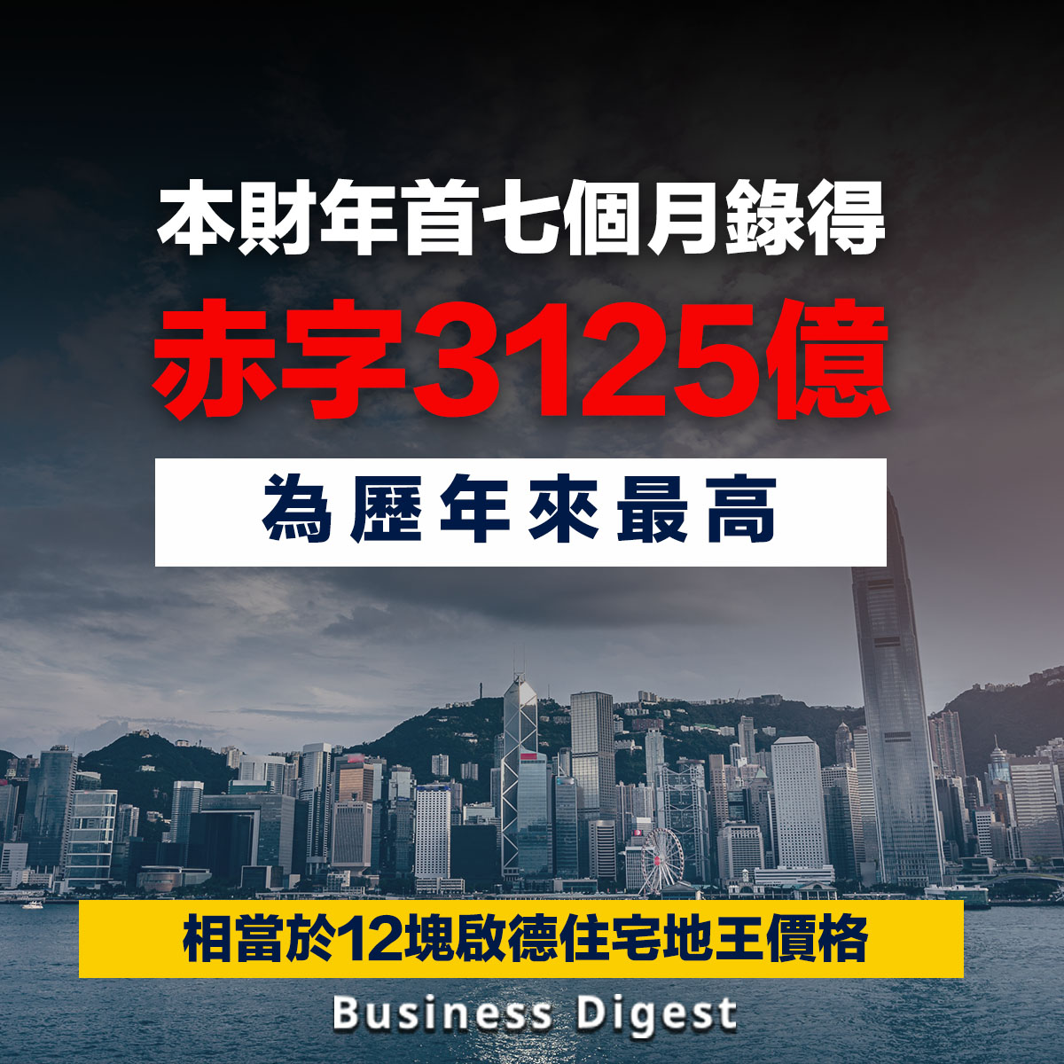 港府本財年首七個月錄得赤字3125億