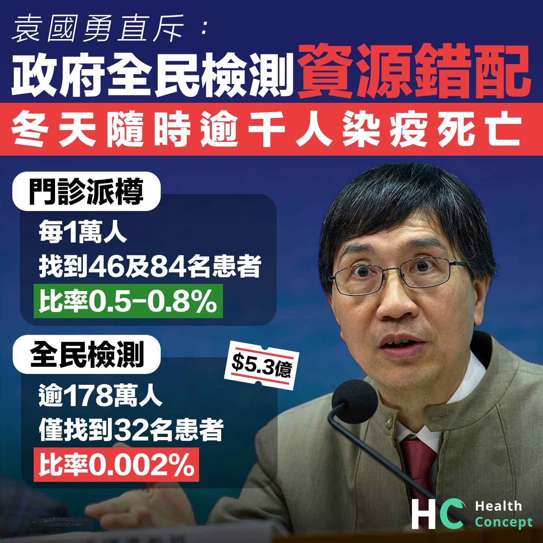 袁國勇斥政府全民檢測資源錯配。
