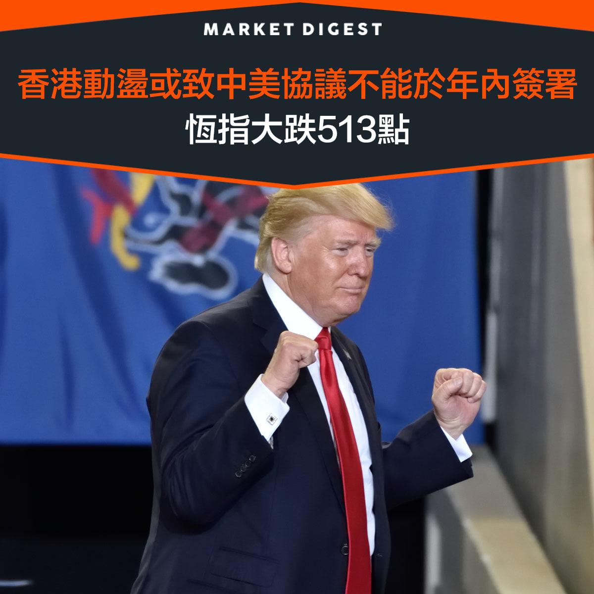 【中美貿易戰】香港動盪或致中美協議不能於年內簽署,恆指大跌513點