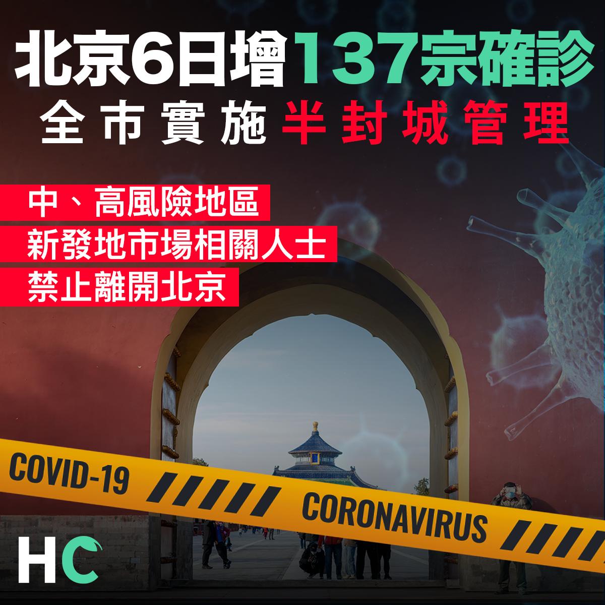 【#新型肺炎】北京6日增137宗確診 全市實施半封城管理