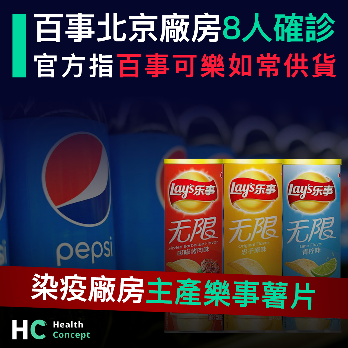 【#新型肺炎】百事北京廠房8人確診可樂如常供貨 染疫廠房主產樂事薯片