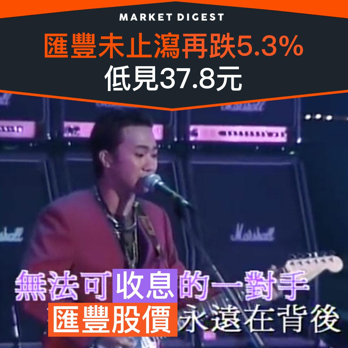 【市場熱話】匯豐未止瀉再跌5.3%,低見37.8元