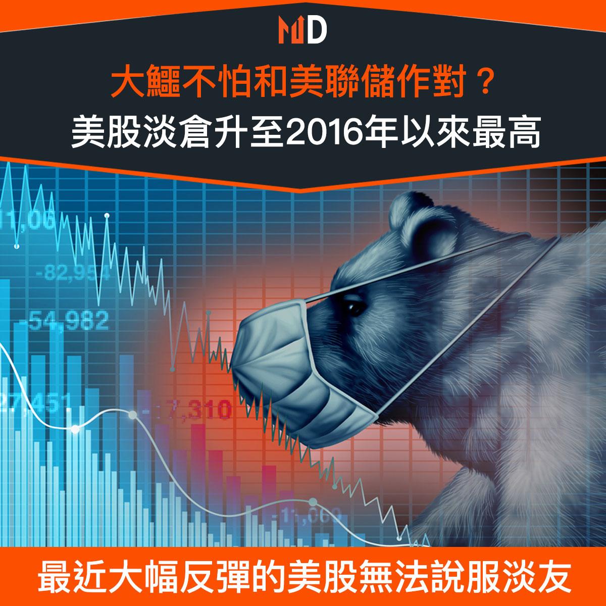 【市場熱話】大鱷不怕和美聯儲作對?美股淡倉升至2016年以來最高