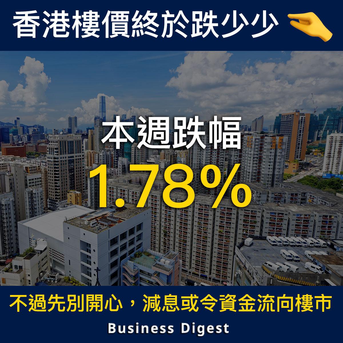 【商業熱話】中原城市領先指數按週跌1.78%,創4年以來最大跌幅