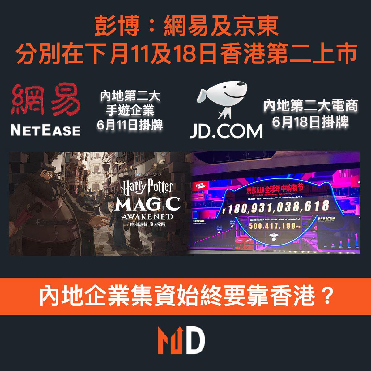 【市場熱話】彭博:網易及京東分別將於下月11日及18日在香港二次上市