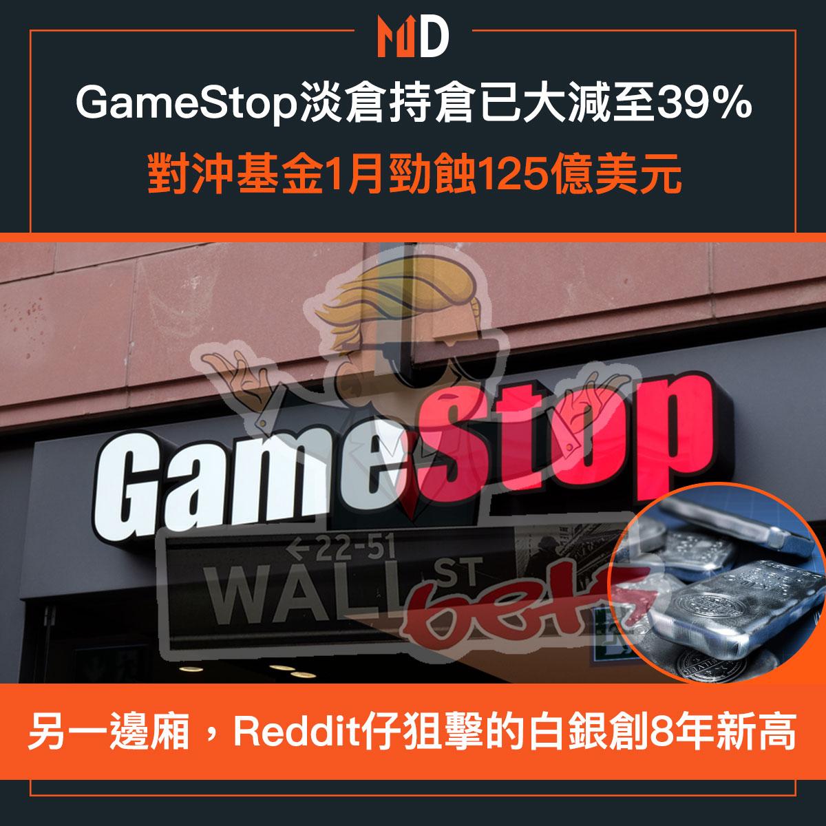 GameStop淡倉持倉已大減至39%,對沖基金1月勁蝕125億美元