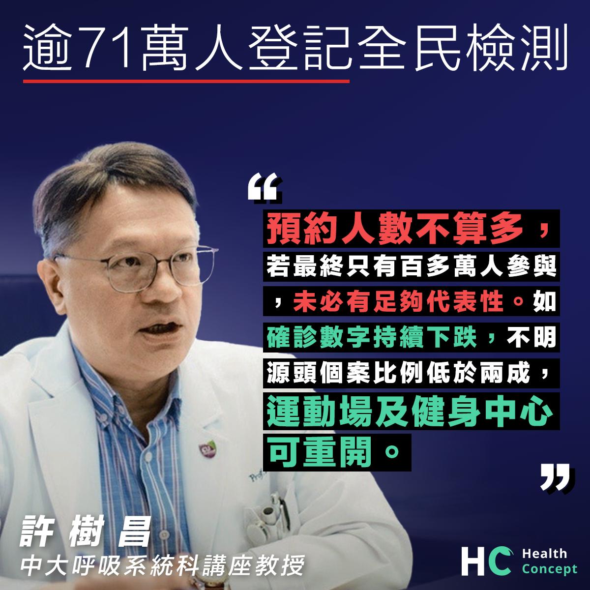 【新型肺炎】逾71萬人登記全民檢測 許樹昌:人數不算好多