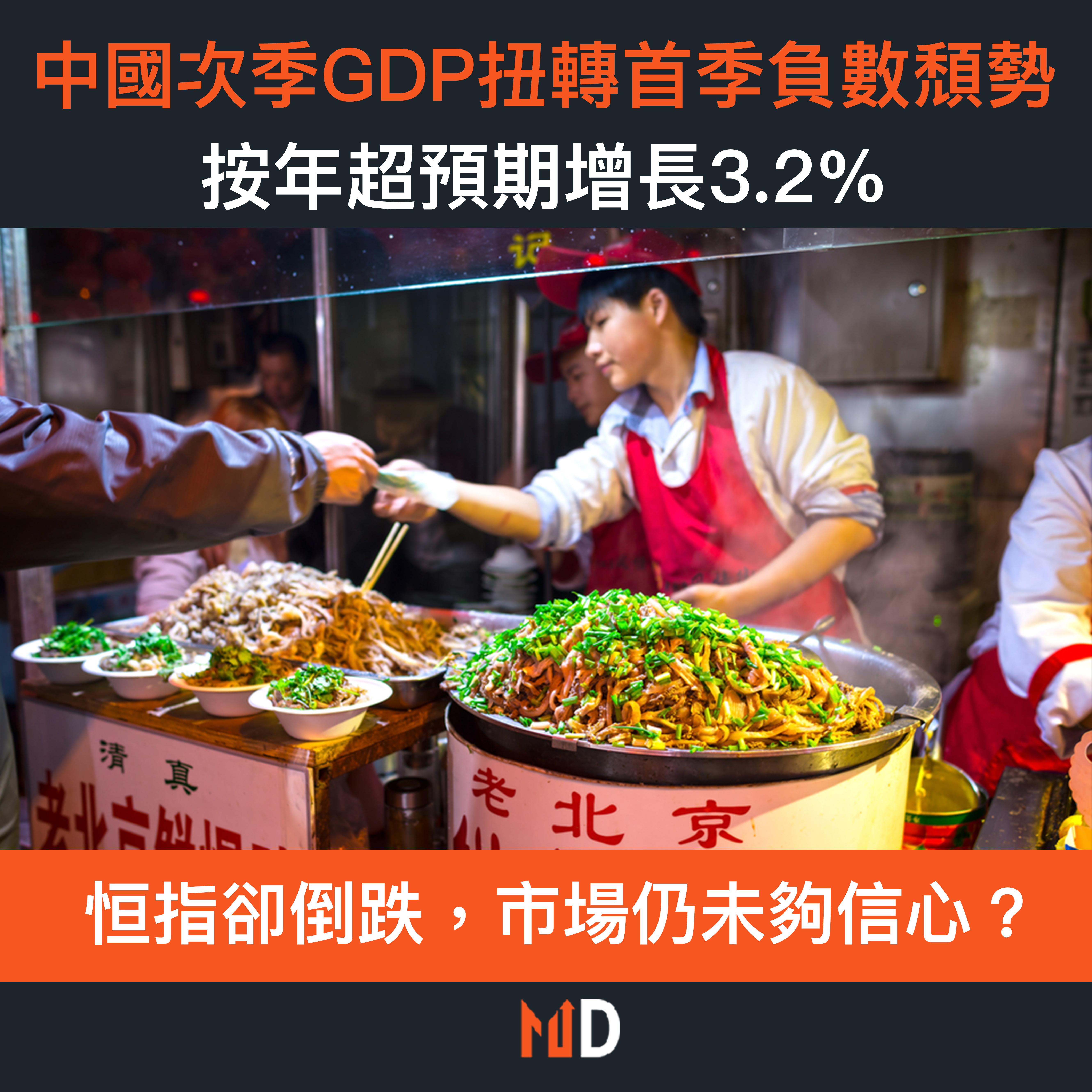 【市場熱話】中國次季GDP扭轉首季負數頹勢,按年超預期增長3.2%