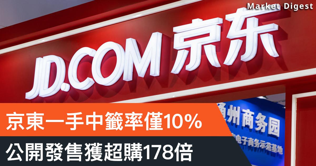 【市場熱話】京東一手中籤率僅一成,公開發售獲超購178倍