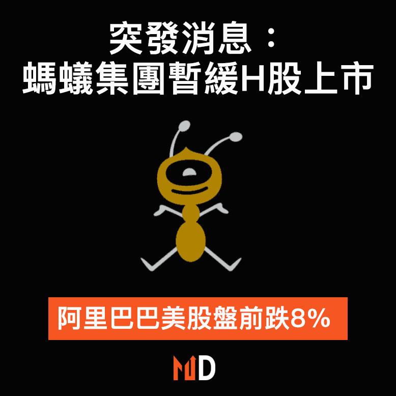 突發消息: 螞蟻集團暫緩H股上市