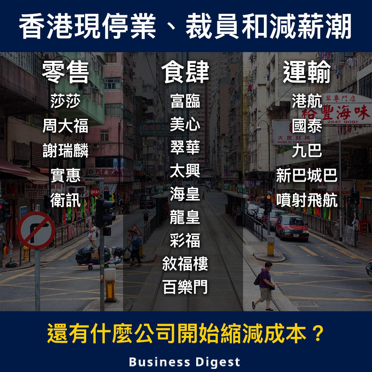 【商業熱話】香港現停業、裁員和減薪潮