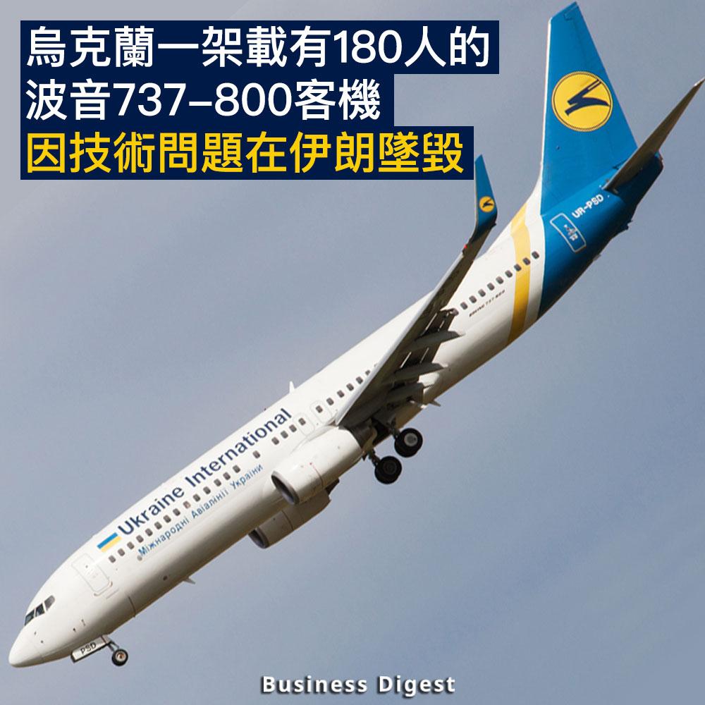 【商業熱話】烏克蘭一架載有180人波音737-800客機因技術問題在伊朗墜毀
