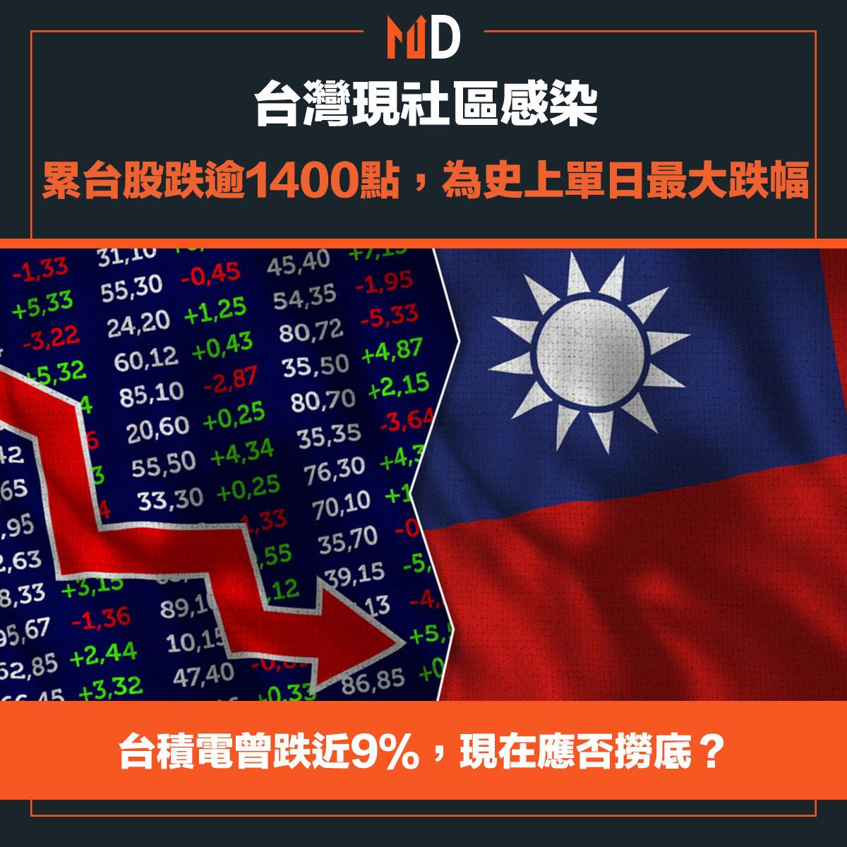 台灣現社區感染,累台股跌逾1400點,為史上單日最大跌幅