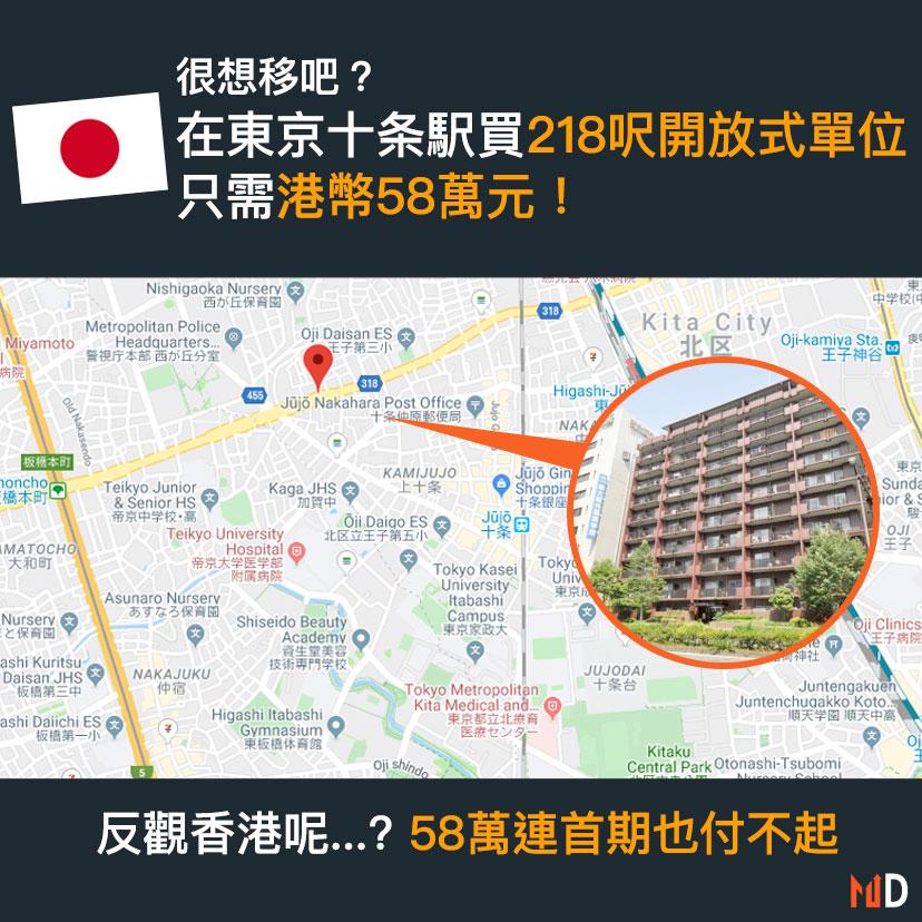 【很想移吧? 】在東京十条駅買218呎開放式單位 只需港幣58萬元!