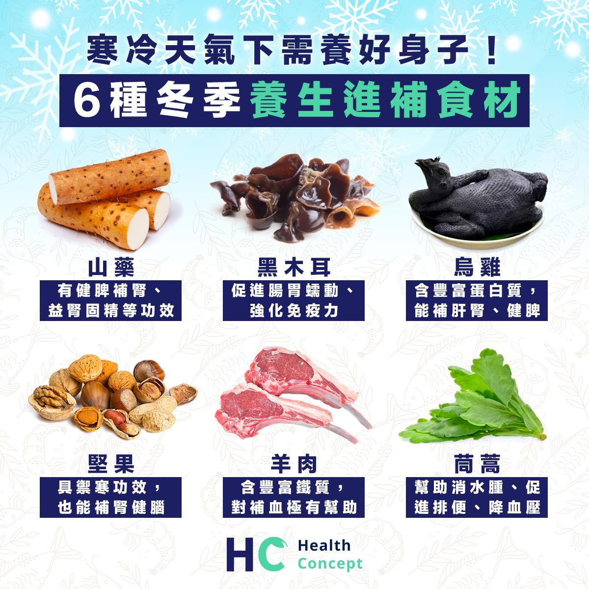 寒冷天氣下需養好身子!6種冬季養生進補食材