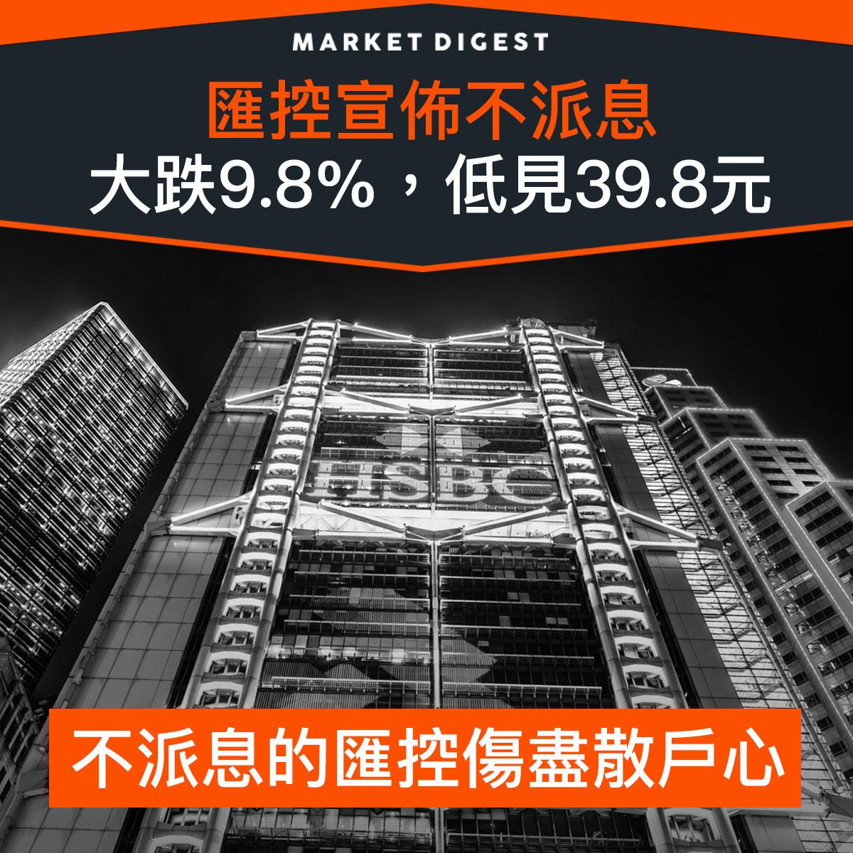 【市場熱話】匯控宣佈不派息,大跌9.8%