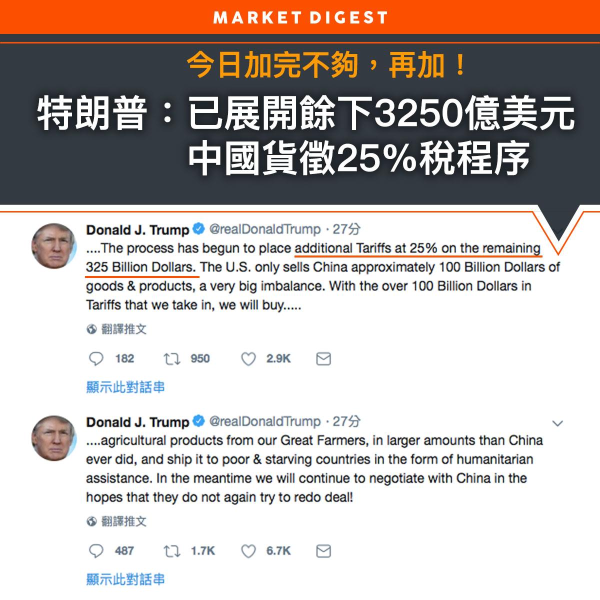 特朗普:已展開餘下3250億美元中國貨徵25%稅程序
