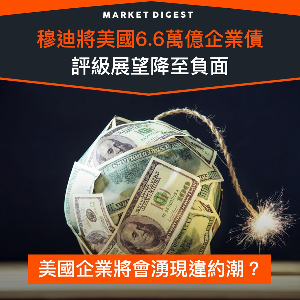 【市場熱話】穆迪將美國6.6萬億企業債評級展望降至負面