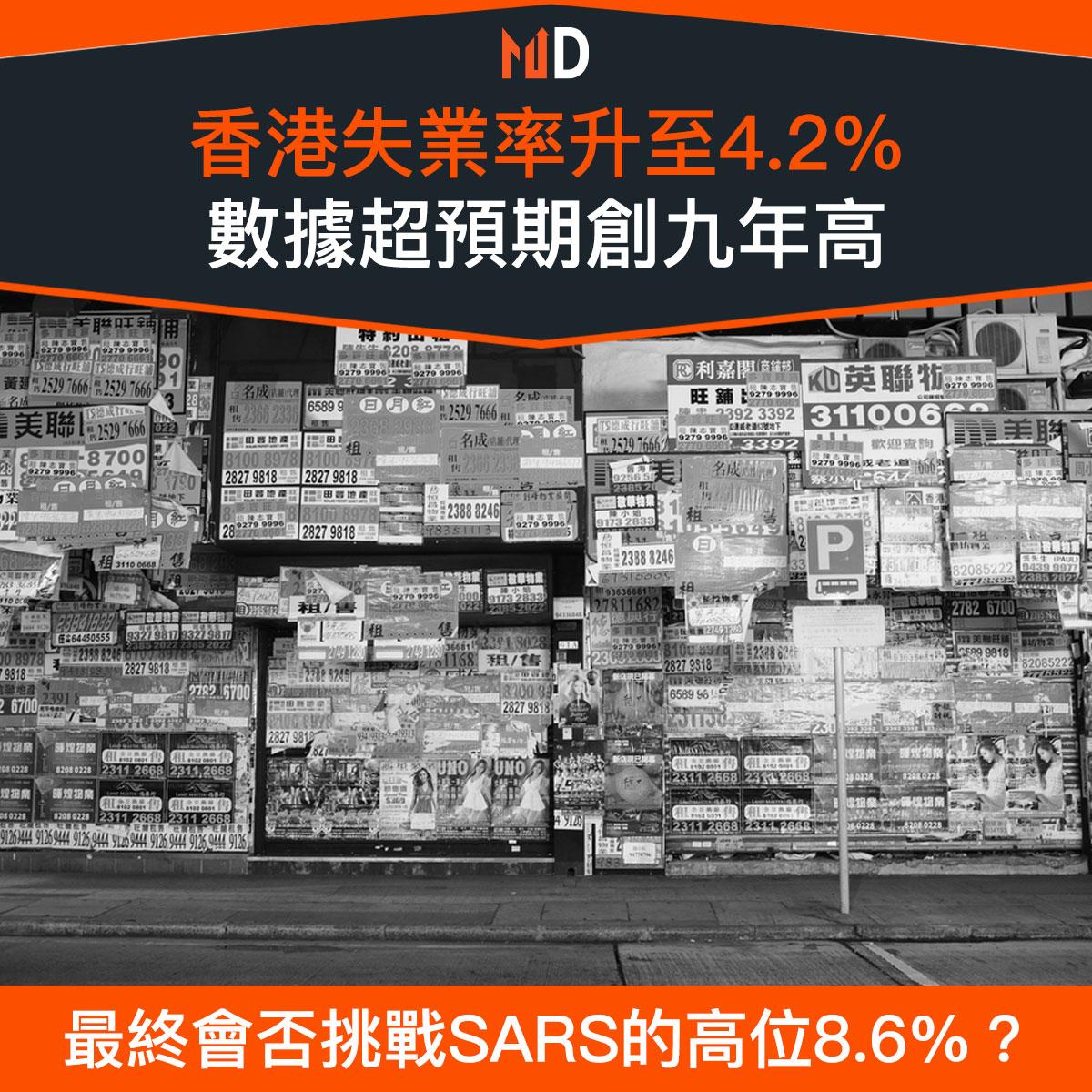 【市場熱話】香港失業率升至4.2%,數據超預期創九年高