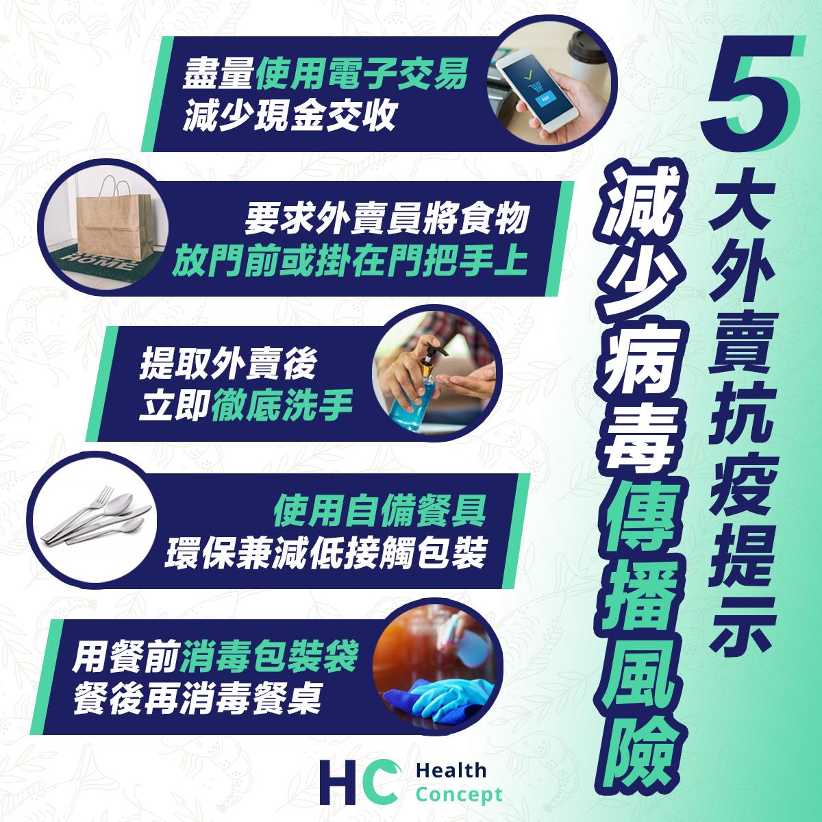 【#健康資訊】5大外賣抗疫提示 減少病毒傳播風險