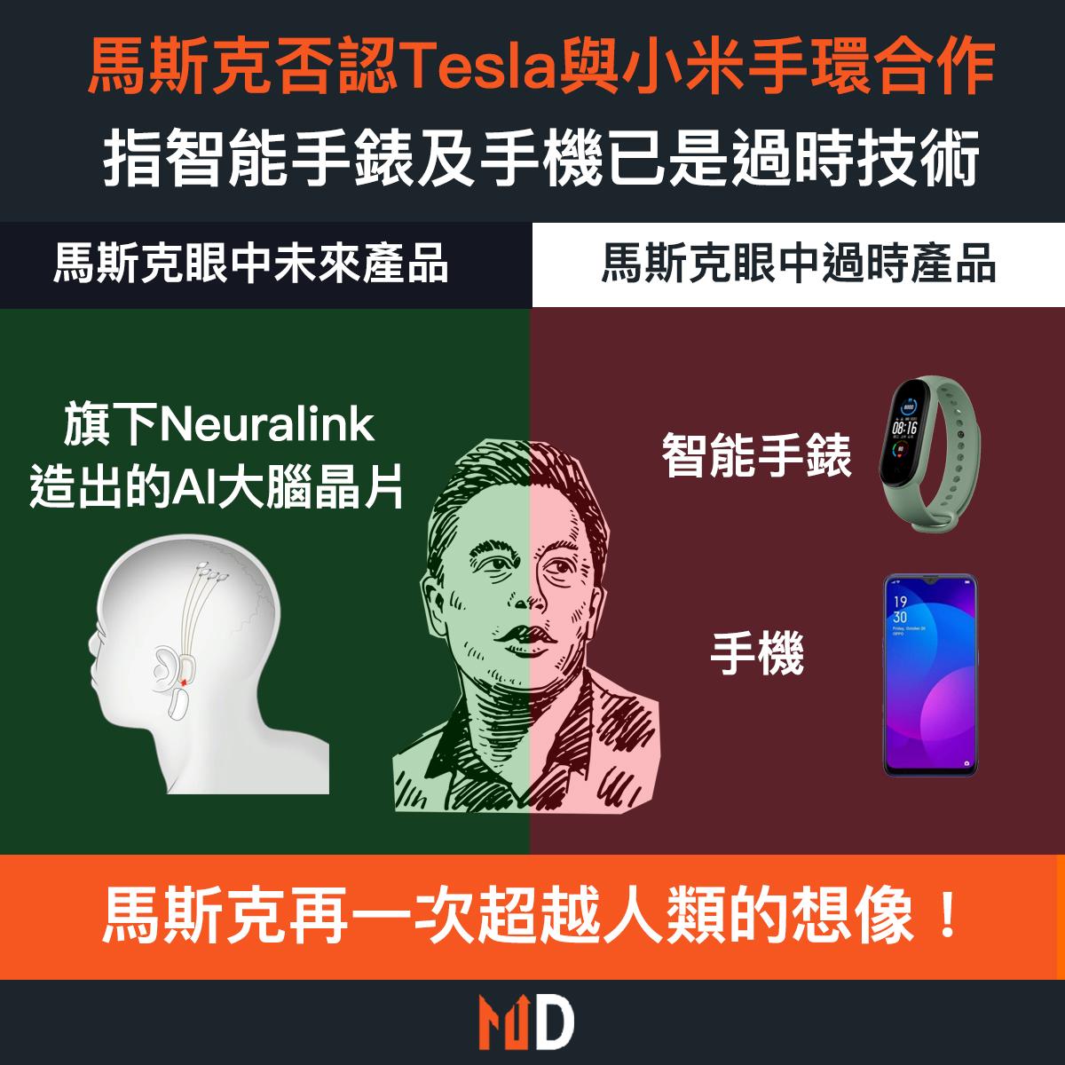 【市場熱話】馬斯克否認Tesla與小米手環合作:智能手錶及手機已是過時技術