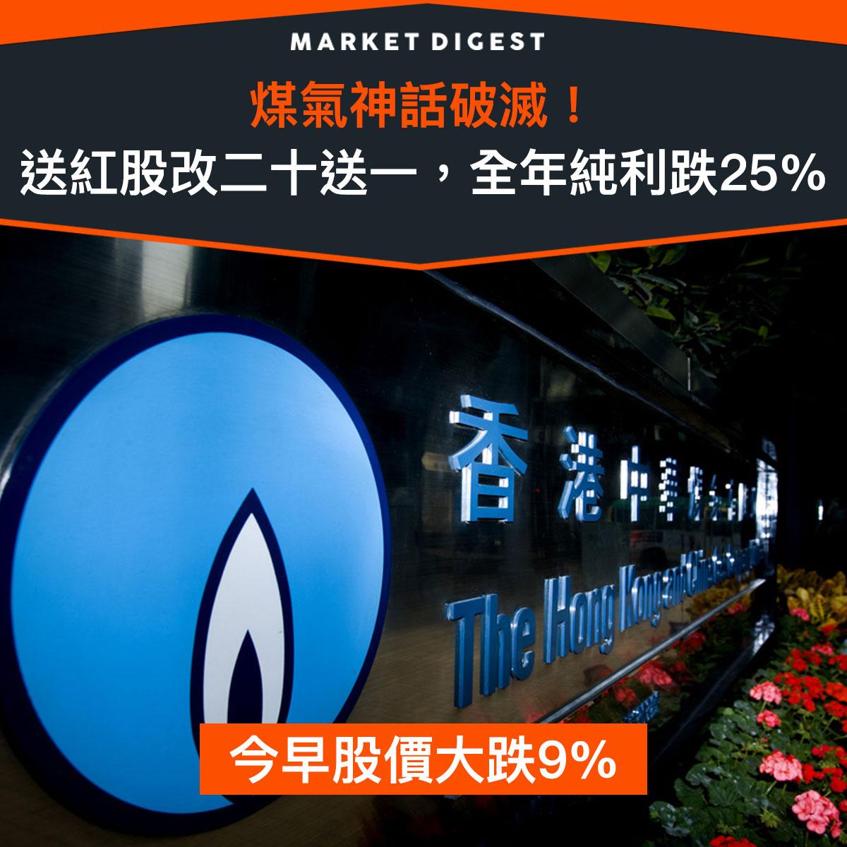 【市場熱話】煤氣神話破滅!送紅股改二十送一,全年純利跌25%