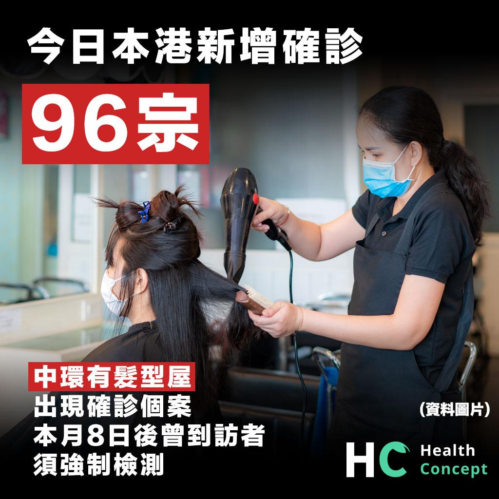今日本港新增確診96宗,中環有髮型屋出現確診個案