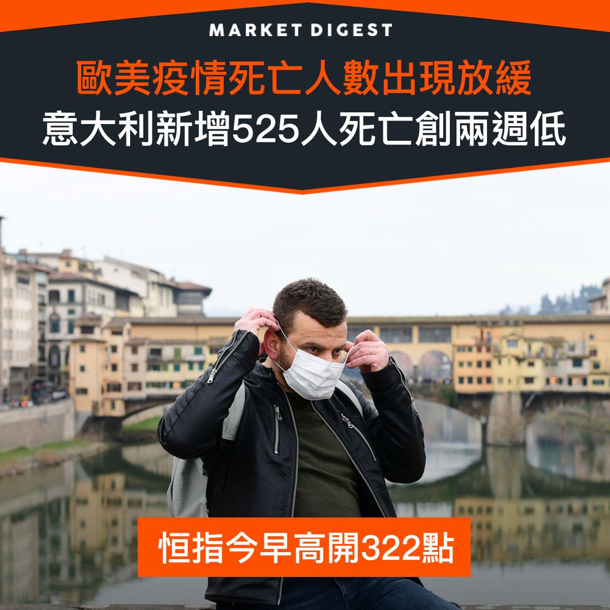 【市場熱話】歐美疫情死亡人數出現放緩,意大利新增525人死亡創兩週低