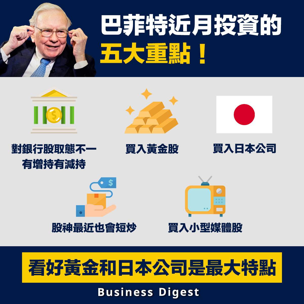 【股神動向】巴菲特近月投資的五大重點:看好黃金和日本公司是最大特點