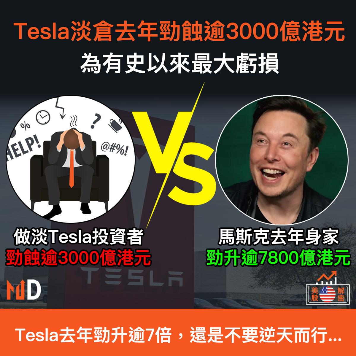 Tesla淡倉去年一共勁蝕逾3000億港元