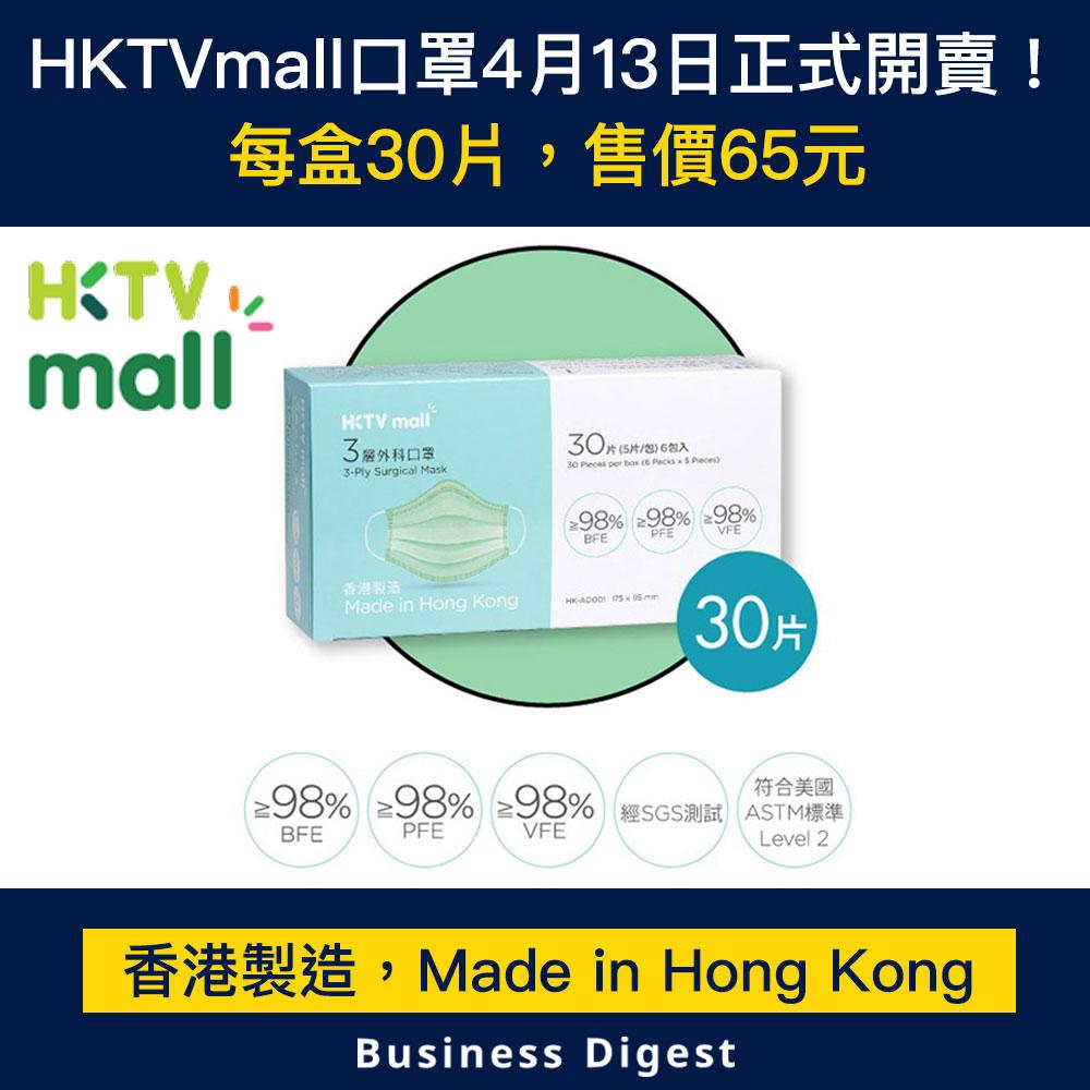 【商業熱話】HKTVmall口罩4月13日正式開賣!每盒30片,售價65元