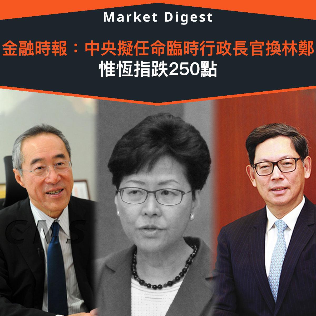 【市場熱話】金融時報:中央擬任命臨時行政長官換林鄭 惟恆指跌250點
