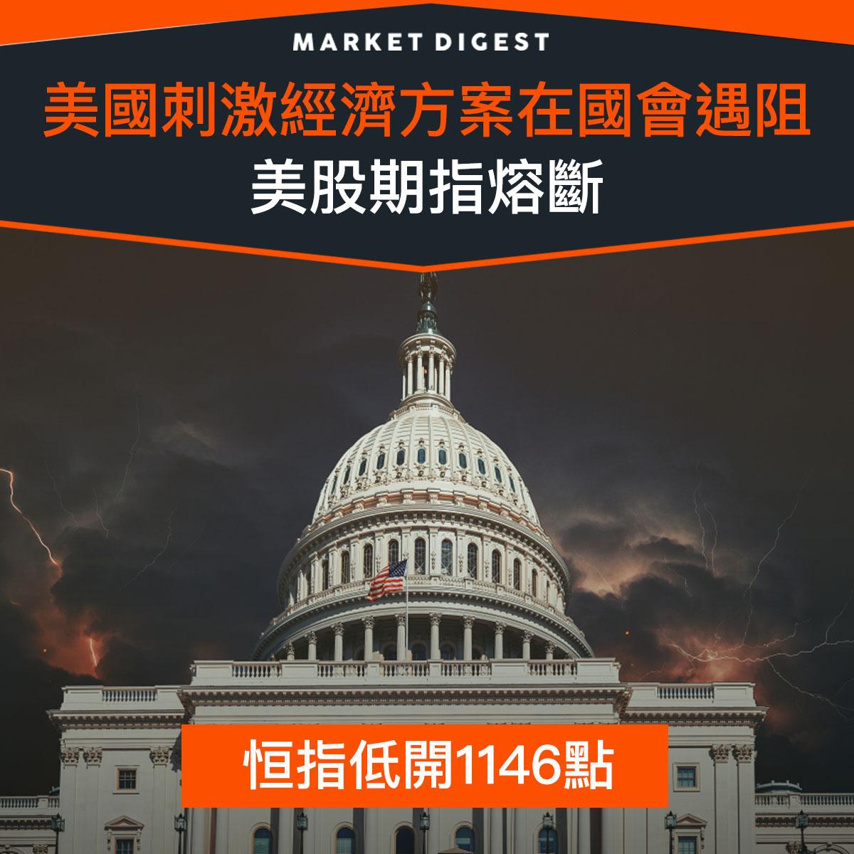 【市場熱話】美國刺激經濟方案在國會遇阻,美股期指熔斷
