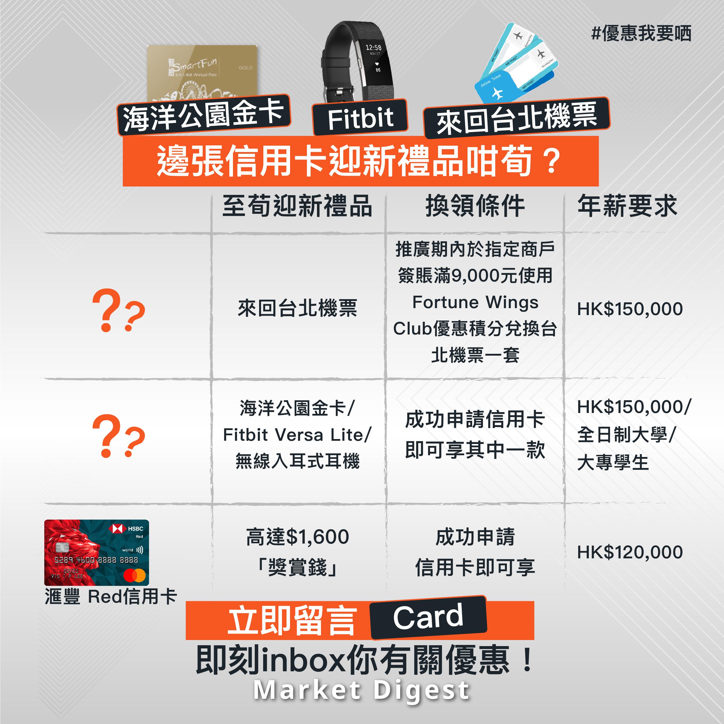 【優惠我要晒】海洋公園金卡.Fitbit.來回台北機票  邊張信用卡迎新禮品咁荀?