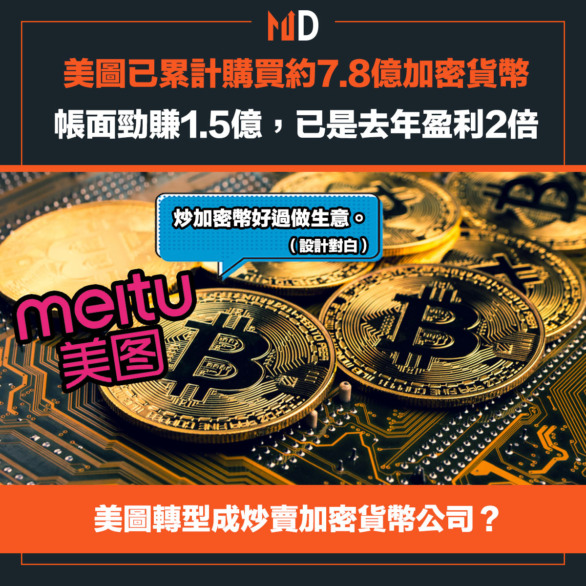 美圖已累計購買約7.8億加密貨幣