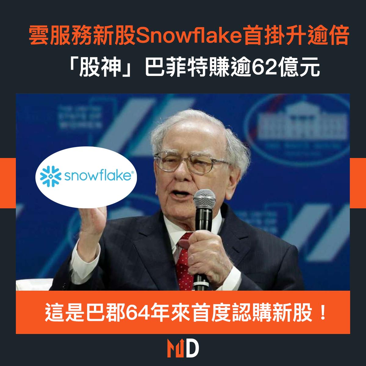 【市場熱話】雲服務新股Snowflake首掛升逾倍,「股神」巴菲特賺逾62億元
