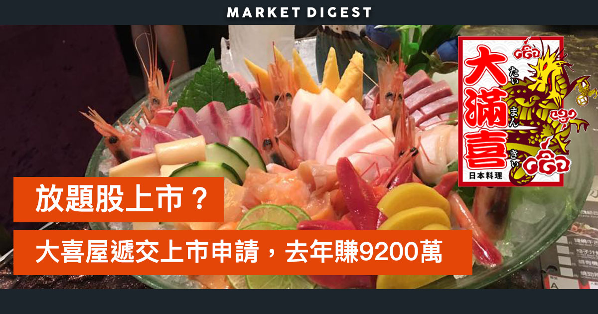 日式放題大喜屋集團申請上市,去年賺9221萬元