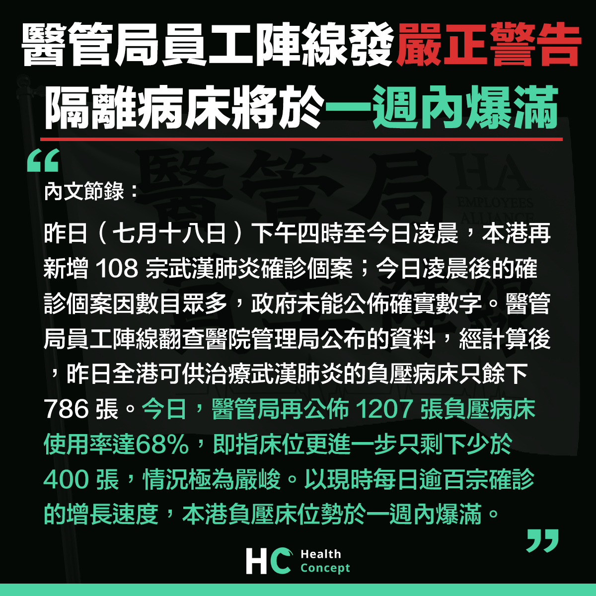 【#新型肺炎】醫管局員工陣線發嚴正警告 隔離病床將於一週內爆滿