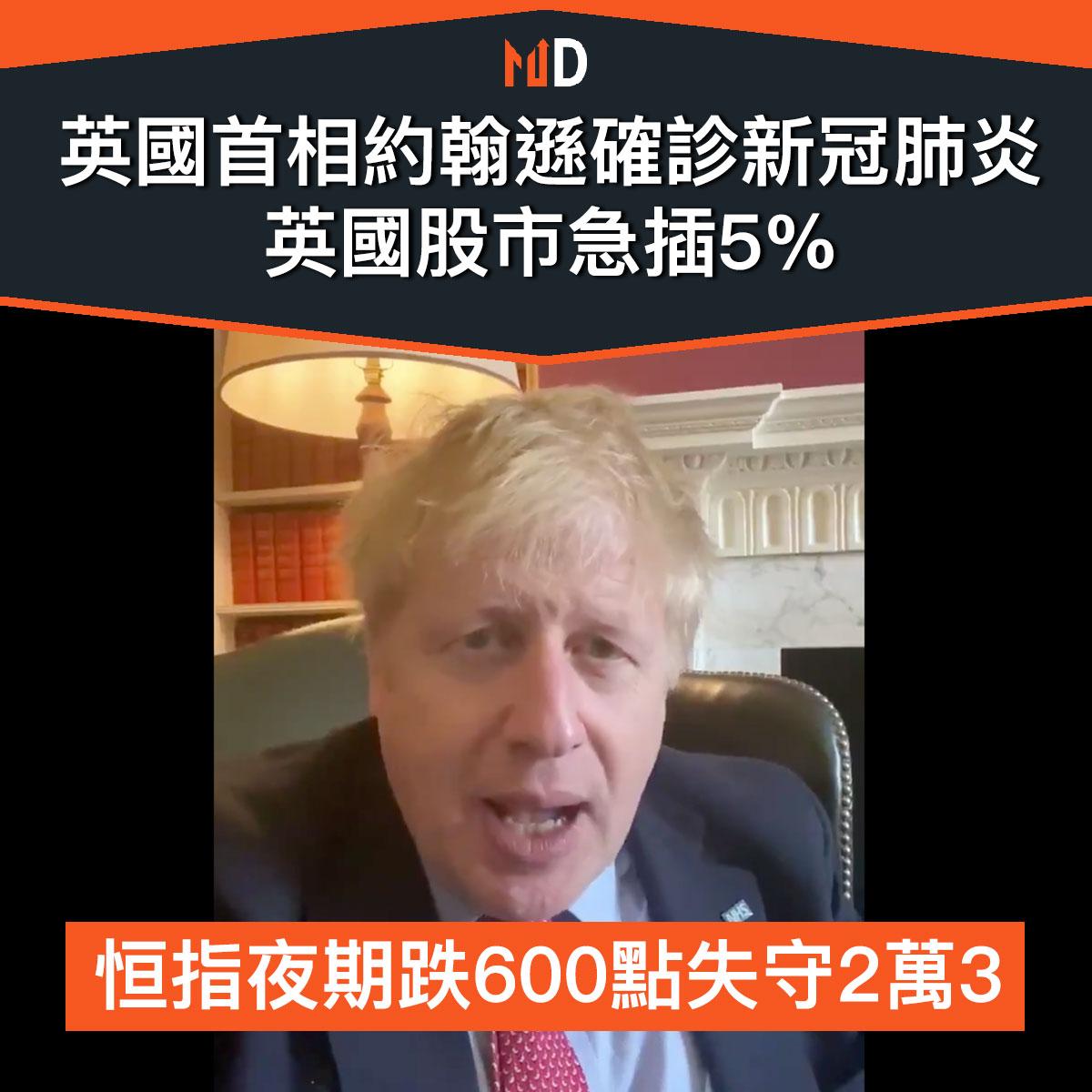 【市場熱話】英國首相約翰遜確診新冠肺炎,英股急插5%