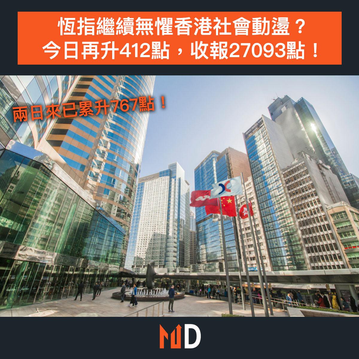 【市場熱話】恆指繼續無懼香港社會動盪?今日再升412點,收報27093點!